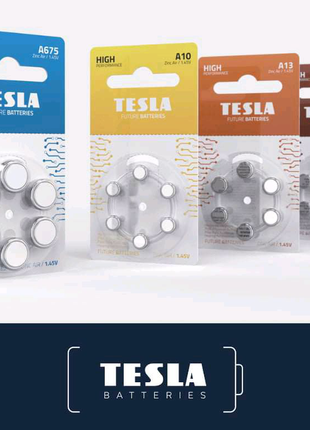 Батарейки для слуховых аппаратов Tesla A10, A13, A312, A675.