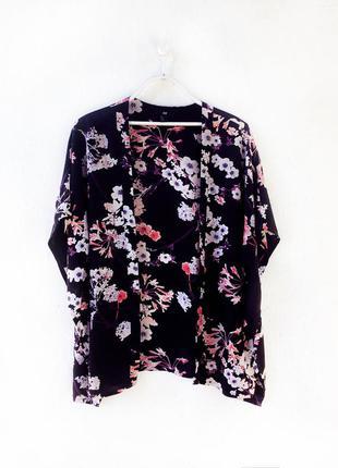 Стильный натуральный кардиган халат кимоно цветочный принт h&m