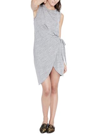 Платье трикотажное  с драпировкой на запах, под поясок,  s ( н...