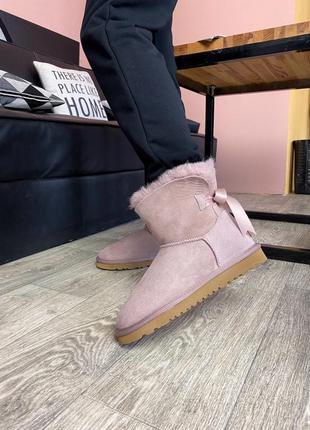 Распродажа! ugg bailey bow mini pink женские зимние замшевые у...
