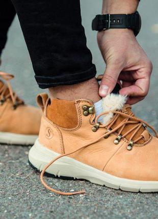Ботинки кожаные мужские с мехом зимние