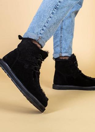 Замшевые угги на шнуровке