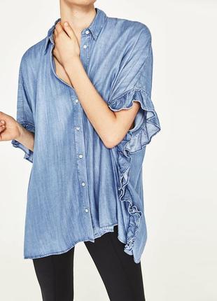 Джинсовая рубашка оверсайз деним