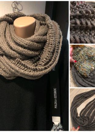 Теплый воздушный серо-коричневый снуд шарф платок палантин