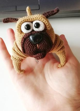 Мопс тедди мягкая миниатюрная игрушка ручной работы.