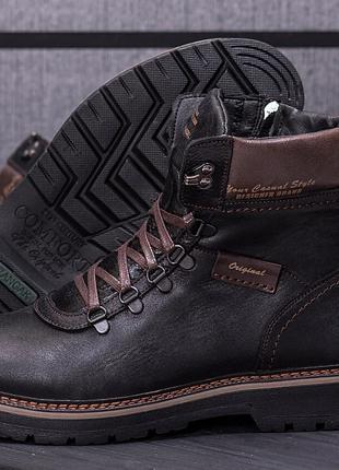 Мужские кожаные зимние ботинки Military Style