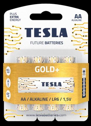 Щелочные батарейки Tesla Gold+ AA 4шт.