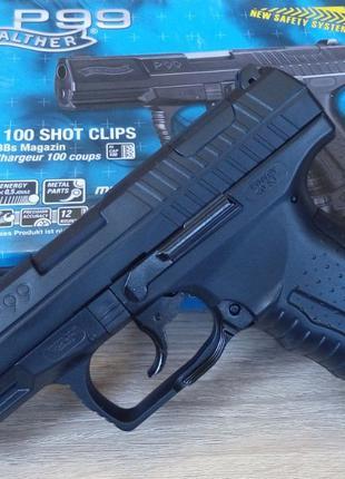 Мощный страйкбольный пистолет Walther P99 Umarex (Германия), с...
