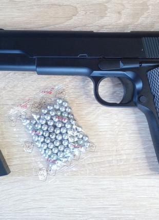 Мощный страйкбольный пистолет Colt M1911 + 500 пуль, металл, с...