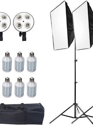 Постоянный студийный свет софтбоксы 2 шт, 8 LED ламп, 2 стойки...