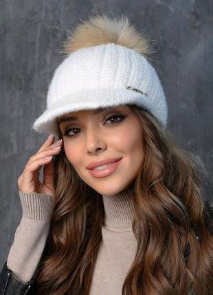 Вязаная кепка женская коса