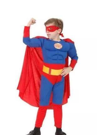 Детский новогодний костюм супермен superman с мускулами