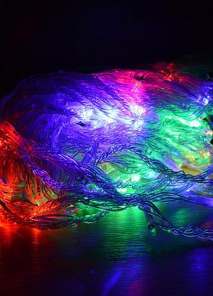 Разноцветная новогодняя настенная гирлянда - водопад 1.2М х 1М (R