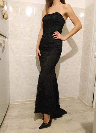 Платье в пол, черное платье в пол ,платье бюстье