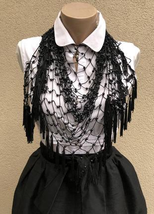 Чёрная,ажурная,вязаная косынка,платок,шаль с бисером,