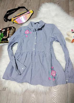 Рубашка на девочку для девочки девушки в полоску с вышивкой вы...