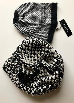 Комплект шапка и шарф-снуд mohito / крупная вязка букле