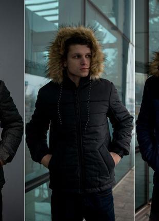 Теплая куртка мужская Аляска на зиму, пуховик зимний, три цвет...