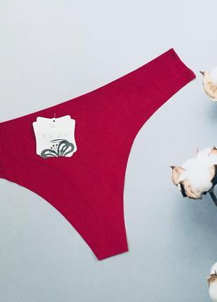 Малиновые розовые трусики стринги бикини бесшовные
