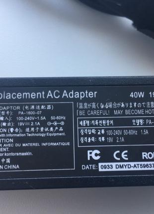 Зарядка,Блок питания для ноутбука Asus 40W 19V 2.1A 3.0*1.00mm