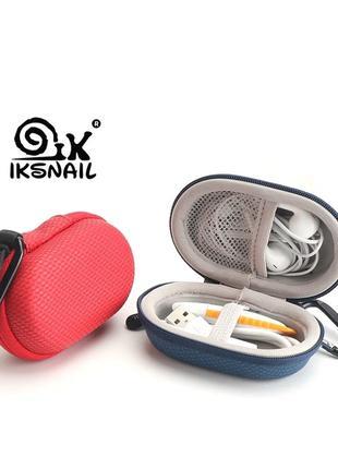 IKSNAIL чехол коробка сумка для наушников с крючком цвет синий