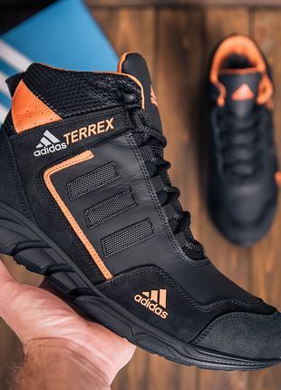 Мужские кожаные зимние кроссовки Adidas TERREX Black Orang высоки