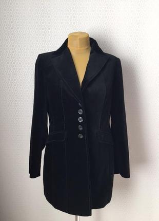 Нарядный длинный приталенный велюровый жакет пиджак, размер не...