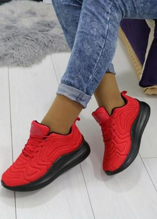 Красные на черной подошве кроссовки! женские кеды!