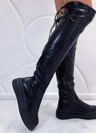 Новые женские зимние черные сапоги ботфорты