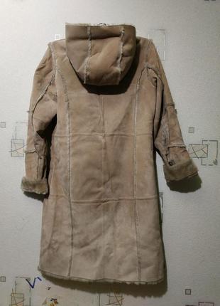 Детская натуральная дубленка с капюшоном меховая пальто пухови...