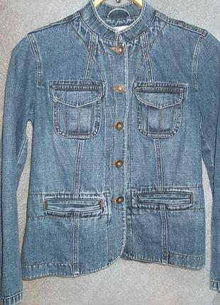 Пиджак приталенный ворот-стойка S/M джинс