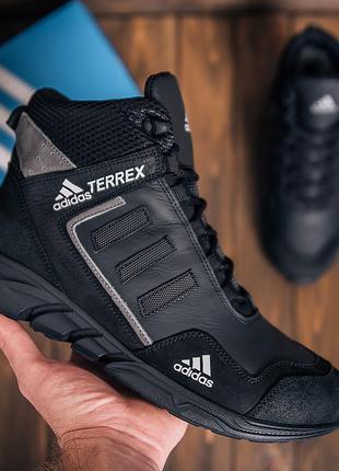 Мужские кожаные зимние кроссовки Adidas TERREX Black Grey