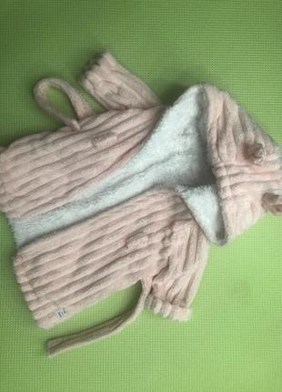 Тёплый розовый халатик в блесточках с капюшоном с ушками