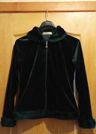 Блуза, кофта зеленая с плюша с меховой отделкой