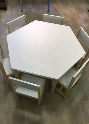 Комплект стол шестигранный + 6 стульев. Детские столы и  стулья