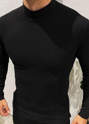 Гольф мужской водолазка, утепленный, ворот стойка, цвет черный