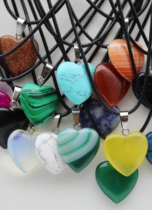 Кулон из натурального камня в форме сердца Красный агат/Синий а..