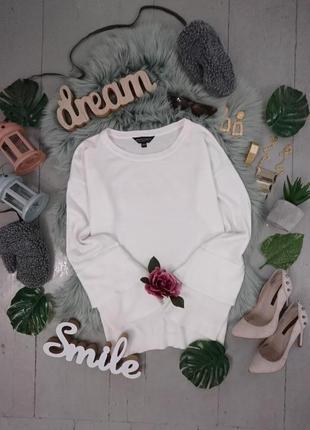 Актуальный удлиненный джемпер пуловер с рюшами на рукавах №49