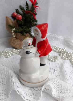 Снежная баба фарфоровая статуэтка ссср городница винтаж девочк...