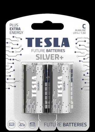 Щелочные батарейки Tesla Silver+ C 2шт.