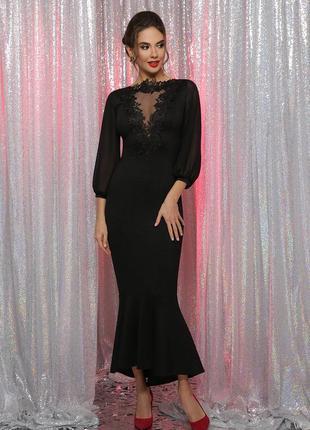 Платье длинное черное с кружевом