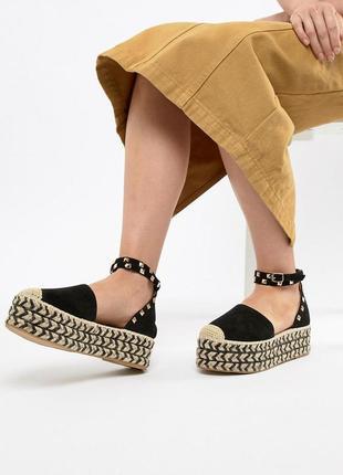 Босоножки туфли эспадрильи на плетеной платформе prettylittlet...