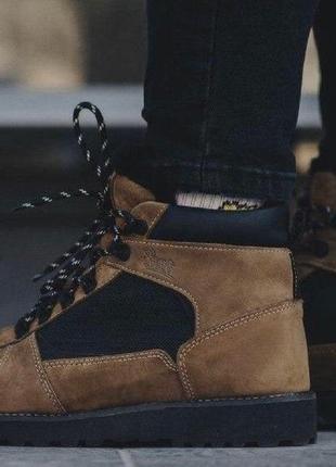 Зимние мужские ботинки коричневые нубук staff beige