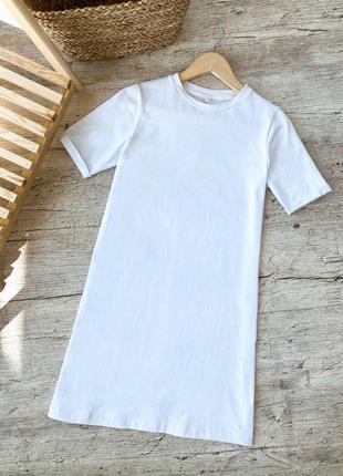 Спортивное базовое платье футболка белое