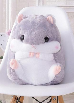 Комплект 3в1 игрушка-подушка хомяк серый с пледом внутри