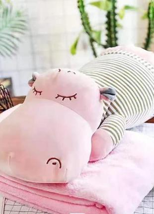 Комплект 3в1 игрушка-подушка бегемот с пледом внутри розовый и...