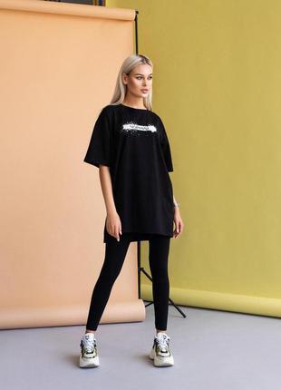 Женский спортивный костюм черный ✨  футболка и леггинсы/лосины
