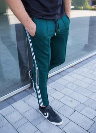 Мужские спортивные штаны зеленые с полосками