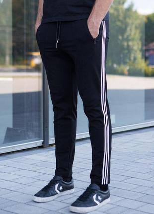 Мужские спортивные штаны черные с полосками