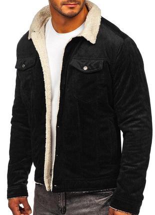 Мужская вельветовая черная куртка с мехом